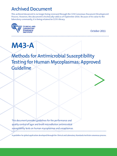 Methods for Antimicrobial Susceptibility Testing for Human Mycoplasmas, 1st Edition