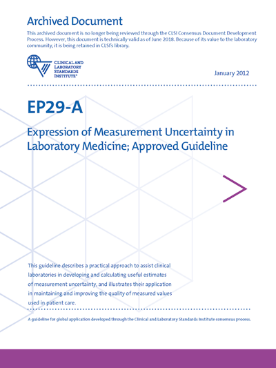 Expression of Measurement Uncertainty in Laboratory Medicine, 1st Edition